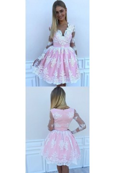 Short Prom Dress Long Sleeves Lace Homecoming Dresses Graduation Party Dresses 701075