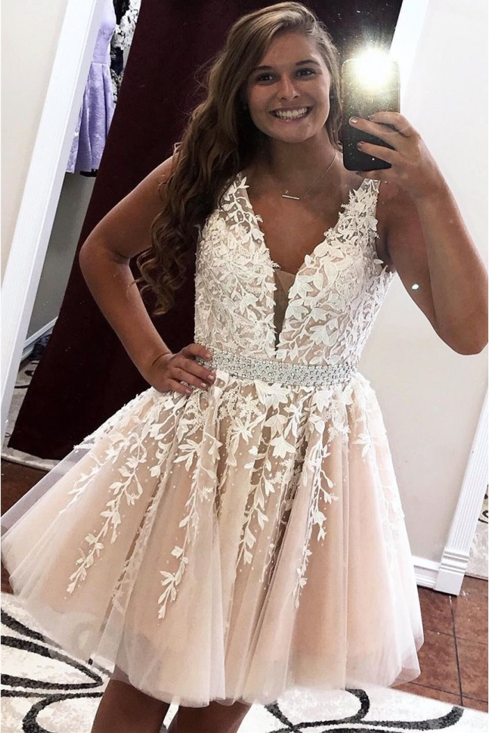 Short Beaded Lace Prom Dress Homecoming Graduation Cocktail Dresses 701099