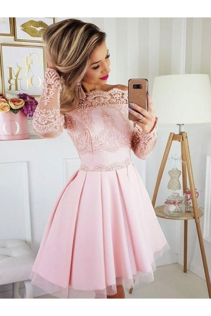 Short Prom Dress Long Sleeves Lace Homecoming Graduation Cocktail Dresses 701143