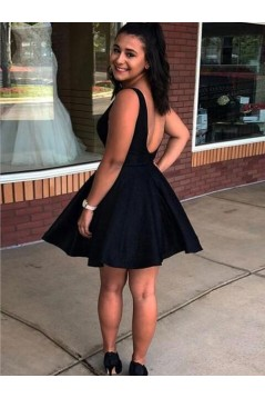 Short Black Satin Prom Dress Homecoming Graduation Cocktail Dresses 701144