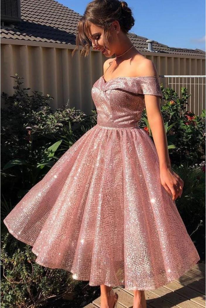 A-Line Sparkle Prom Dress Homecoming Graduation Cocktail Dresses 701154
