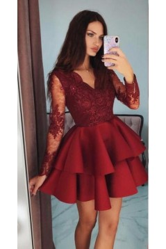 Short Prom Dress Long Sleeves Lace Homecoming Graduation Cocktail Dresses 701160