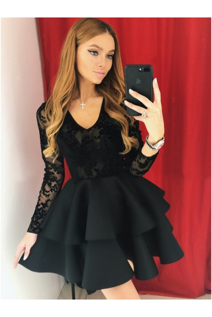 Short Black Prom Dress Long Sleeves Lace Homecoming Graduation Cocktail Dresses 701163