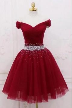 A-Line Beaded Short Prom Dress Homecoming Graduation Cocktail Dresses 701165