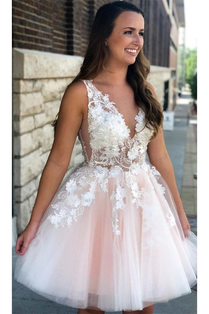 A-Line Lace Short Prom Dress Homecoming Graduation Cocktail Dresses 701167