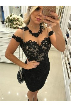 Short Black Lace Prom Dress Homecoming Graduation Cocktail Dresses 701225