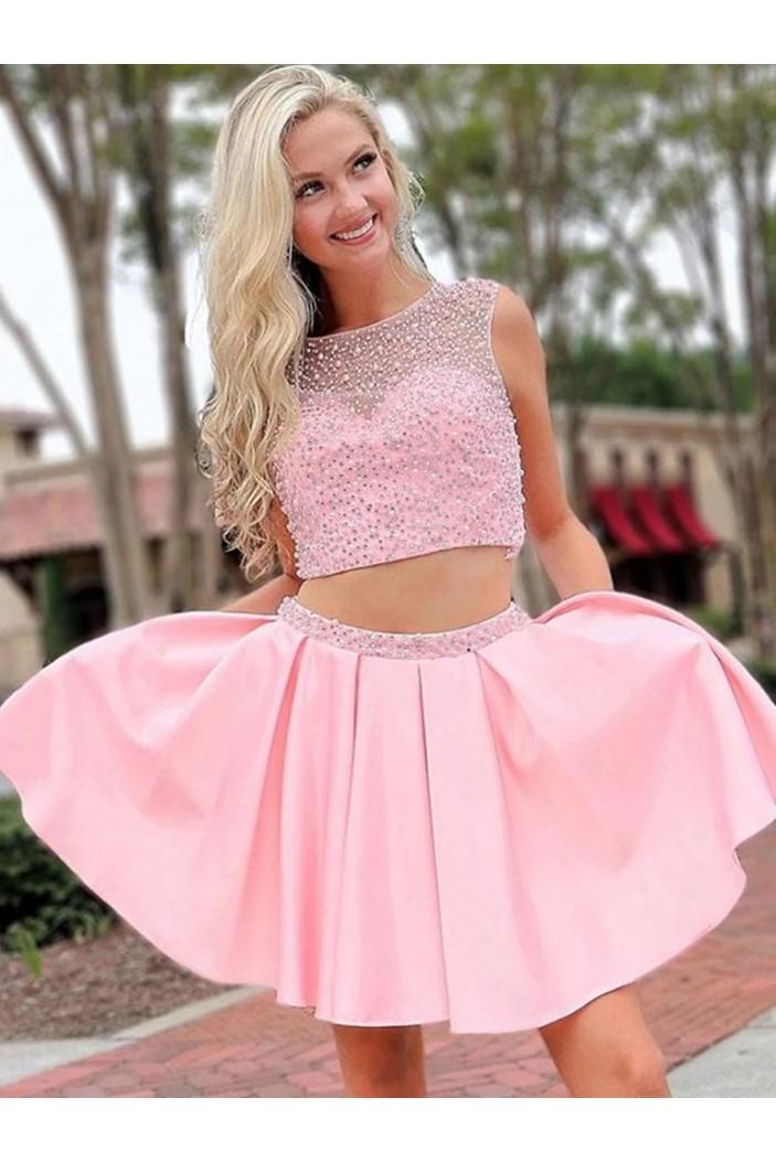 Short Beaded Pink Prom Dress Homecoming Graduation Cocktail Dresses 701241