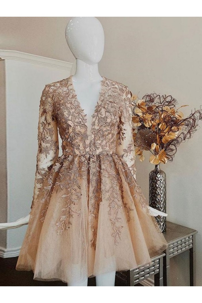 Short Prom Dress Long Sleeves Lace Homecoming Graduation Cocktail Dresses 701255