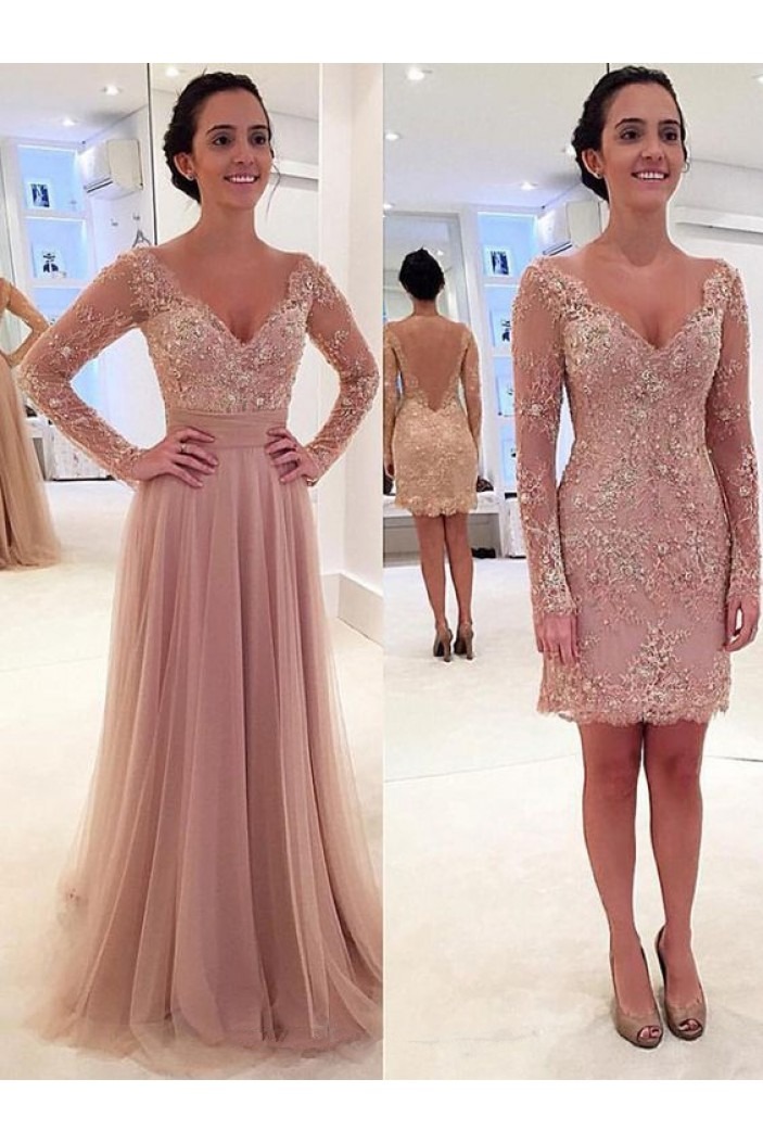 Elegant Beaded Lace Long Sleeves Mother of the Bride Dresses 702001