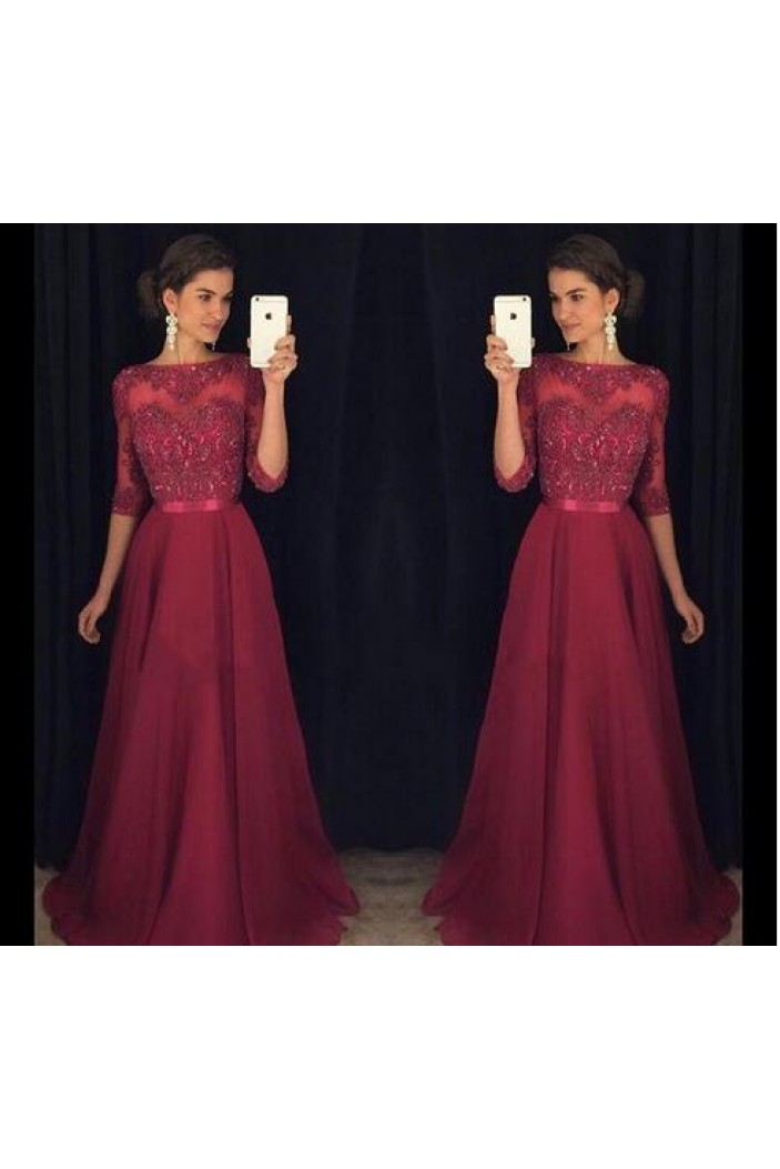 A-Line Lace 3/4 Length Sleeves Mother of the Bride Dresses 702004