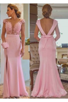 Long Pink Beaded Lace Mermaid Mother of the Bride Dresses 702008