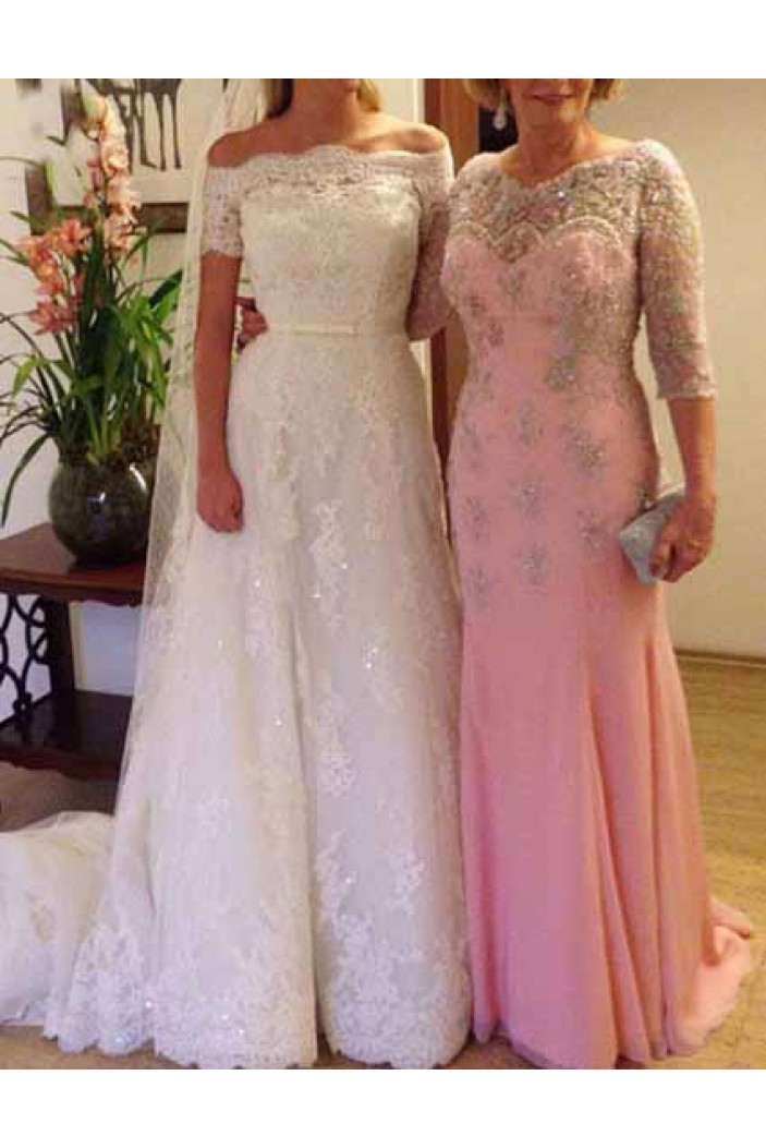 Long Pink Beaded Lace Mermaid Mother of the Bride Dresses 702009