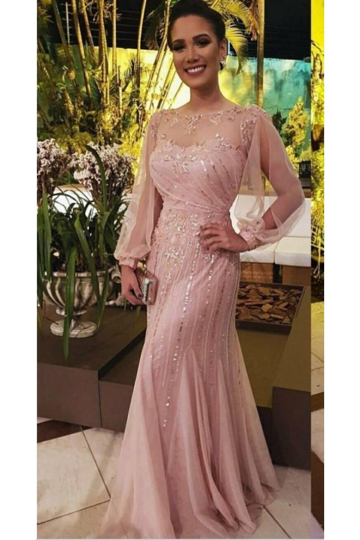 Long Sleeves Beaded Sequins Mother of the Bride Dresses 702013