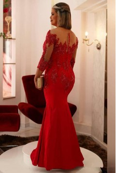 Mermaid Beaded Lace Long Red Mother of the Bride Dresses 702026