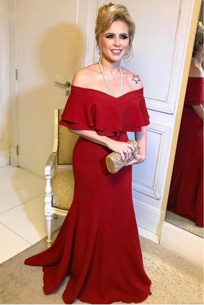 Long Red Mermaid Mother of the Bride Dresses 702030