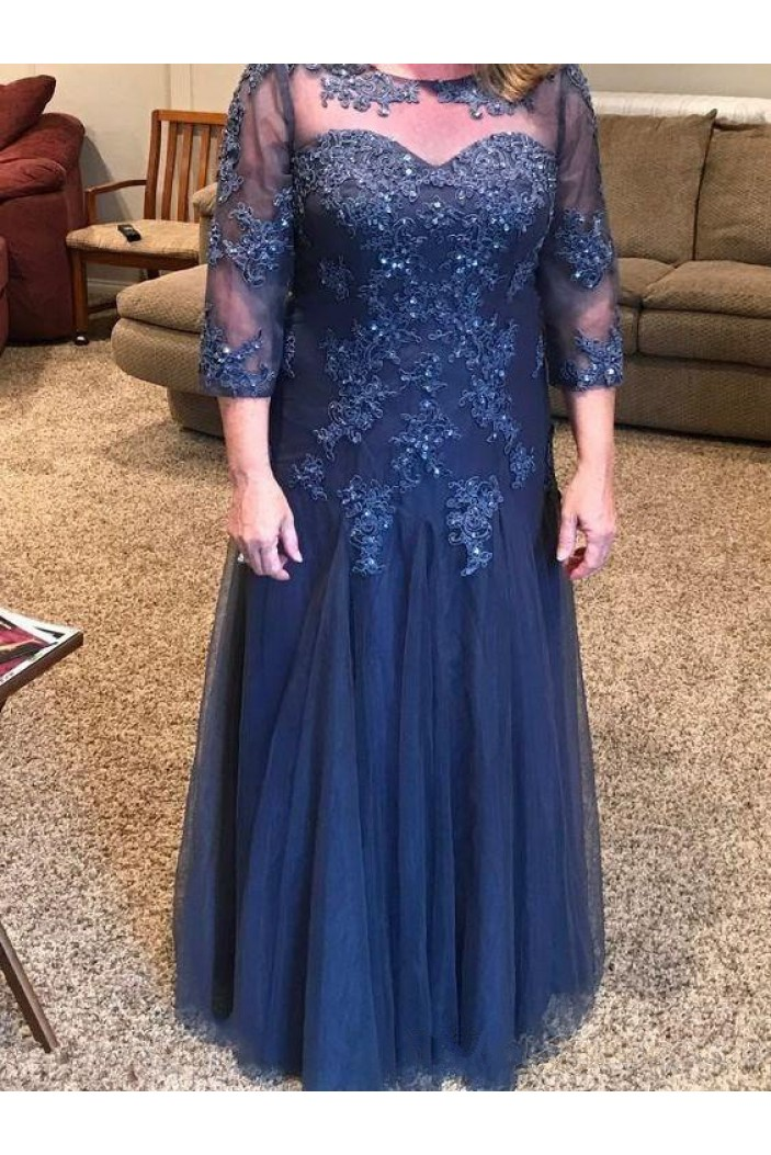 Lace 3/4 Length Sleeves Navy Blue Mother of the Bride Dresses 702038