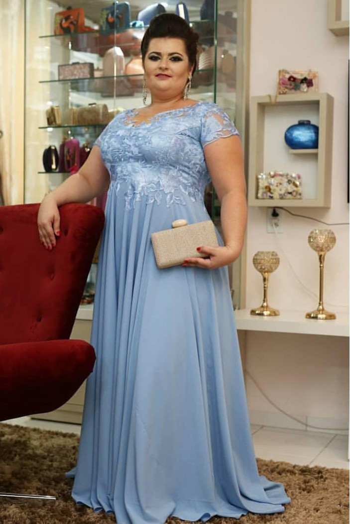 A-Line Chiffon Plus Size Mother of the Bride Dresses 702042