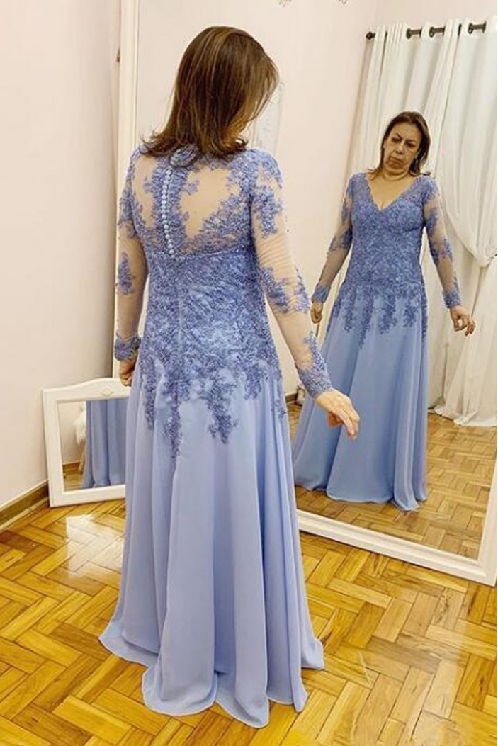 A-Line Long Sleeves Lace Mother of the Bride Dresses 702044