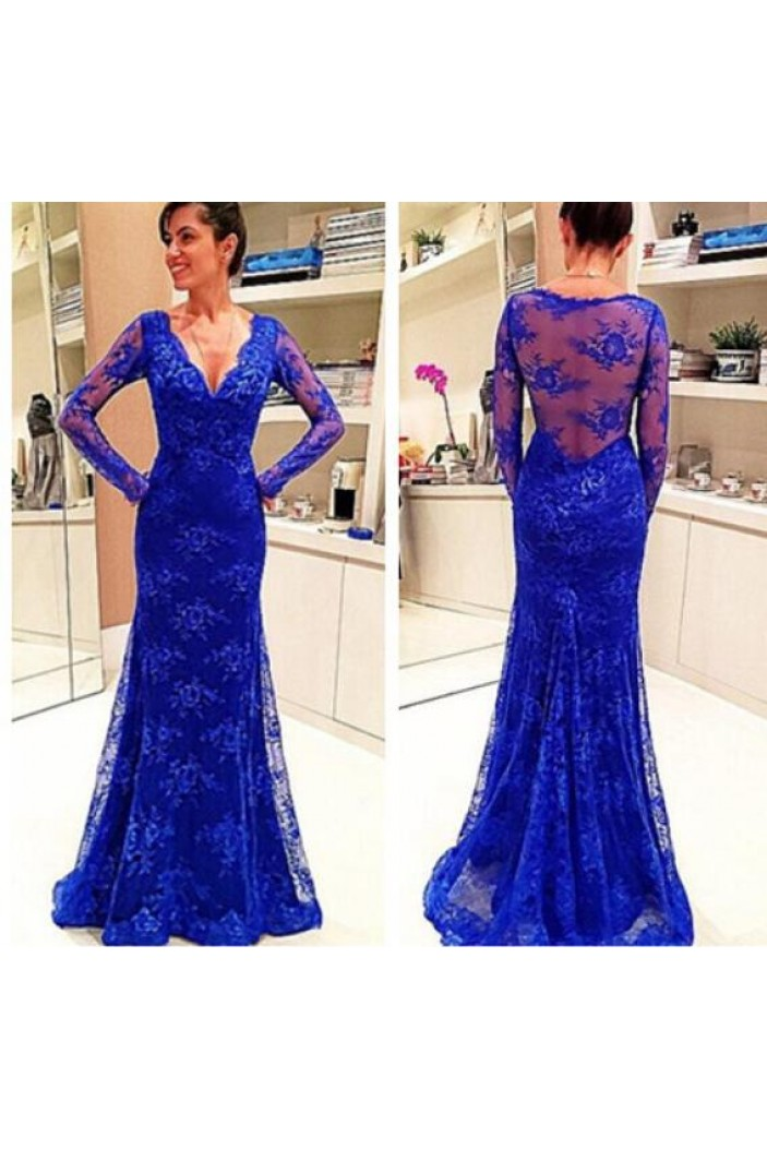 Mermaid Long Sleeves Lace V-Neck Mother of the Bride Dresses 702046