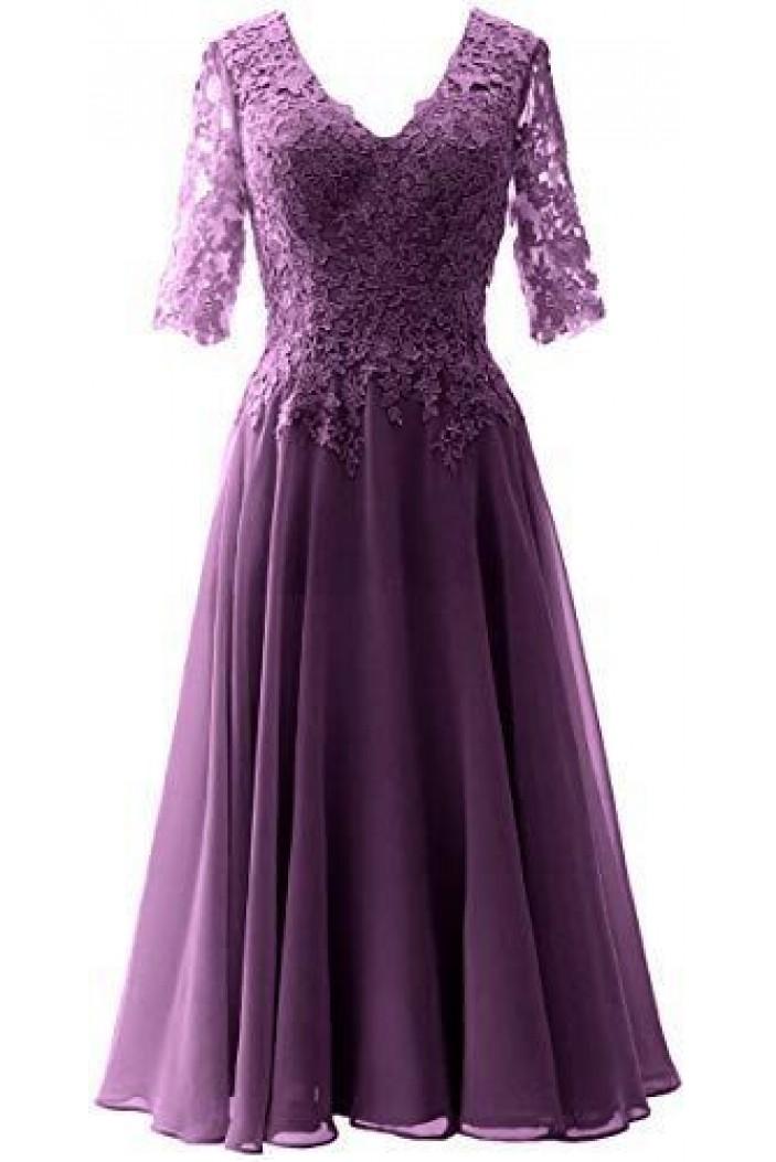 A-Line V-Neck Lace Floor Length Mother of the Bride Dresses 702047