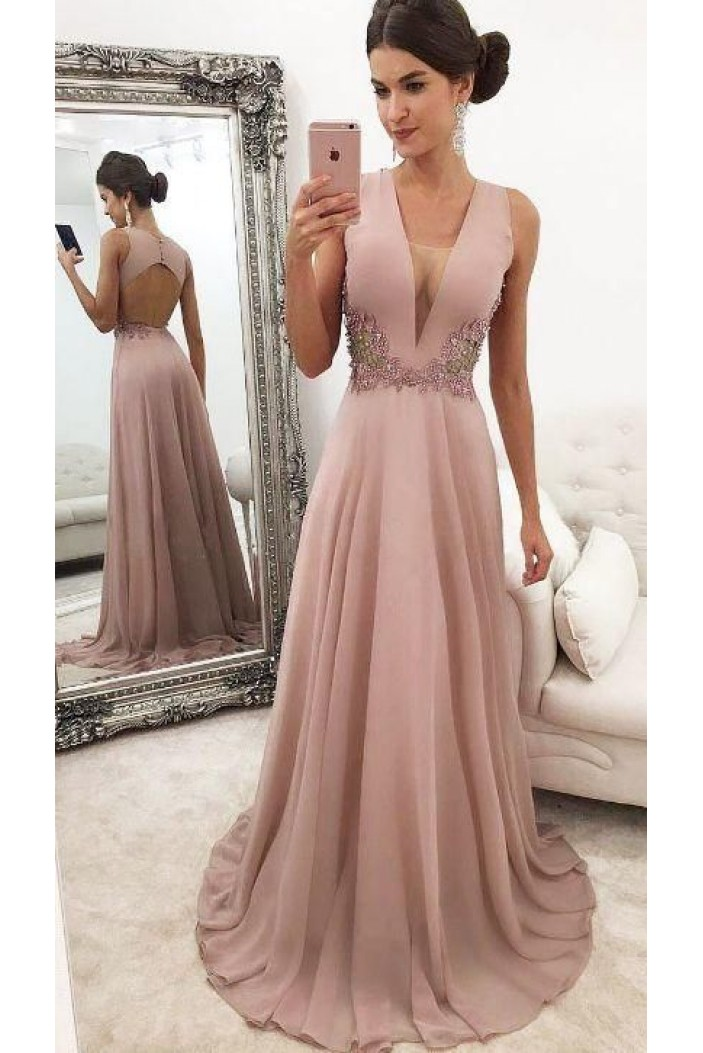 A-Line Beaded Lace V-Neck Mother of the Bride Dresses 702050
