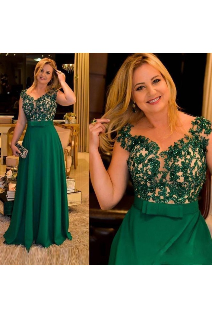 A-Line Beaded Lace Long Green Mother of the Bride Dresses 702063