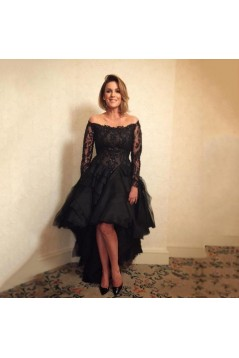 High Low Beaded Lace Black Mother of the Bride Dresses 702065