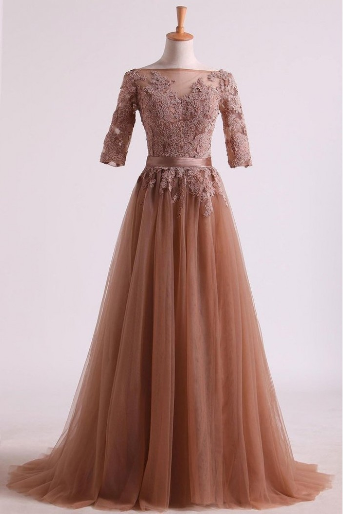 A-Line Lace Tulle Mother of the Bride Dresses 702069