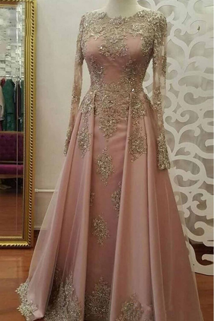 A-Line Beaded Lace Long Sleeves Mother of the Bride Dresses 702087