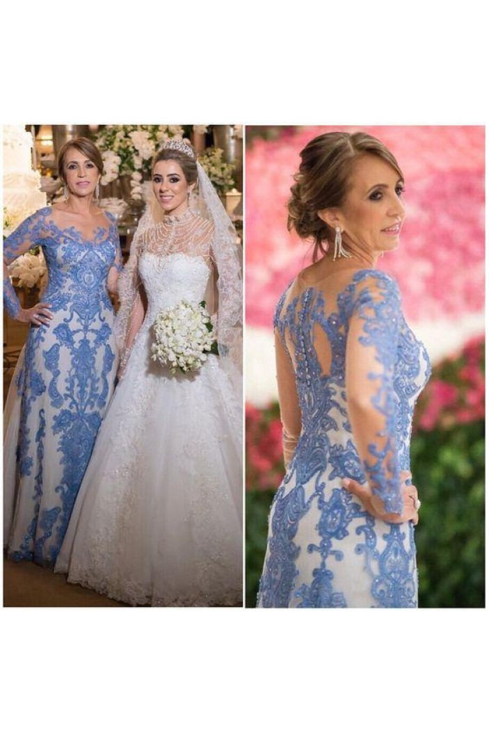 Long Sleeves Beaded Lace Mother of the Bride Dresses 702088