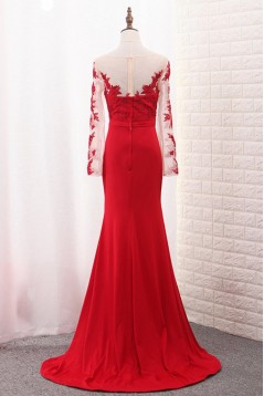 Long Sleeves Lace Mermaid Red Mother of the Bride Dresses 702089