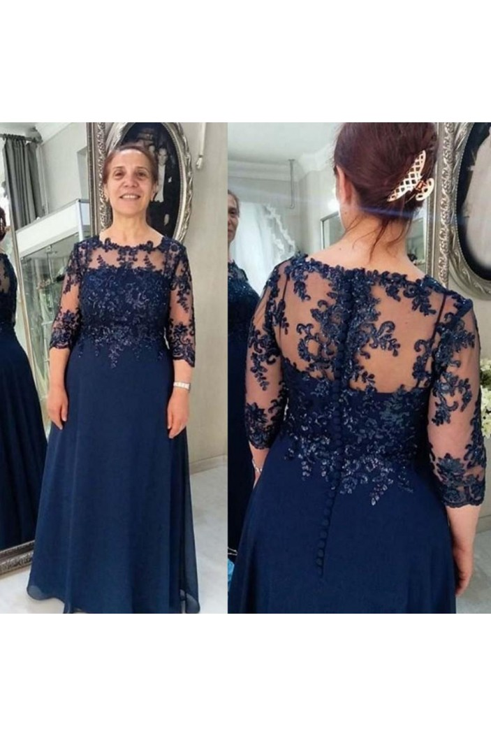A-Line Beaded Lace Long Mother of the Bride Dresses 702091
