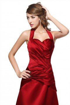 A-Line Halter Long Red Satin Bridesmaid Dresses/Wedding Party Dresses BD010001
