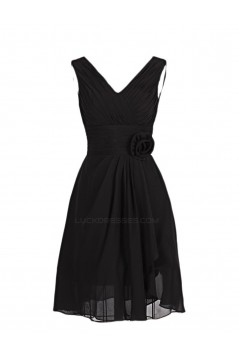 A-Line V-Neck Short Purple Chiffon Bridesmaid Dresses/Wedding Dresses BD010002