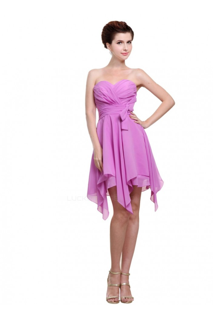 A-Line Sweetheart Short Purple Bridesmaid Dresses/Wedding Party Dresses BD010003