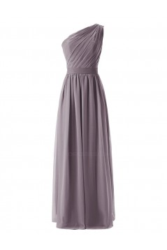 A-Line One-Shoulder Mint Green Long Chiffon Bridesmaid Dresses/Wedding Party Dresses BD010004