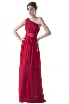 A-Line One-Shoulder Royal Blue Long Chiffon Bridesmaid Dresses/Wedding Party Dresses BD010007
