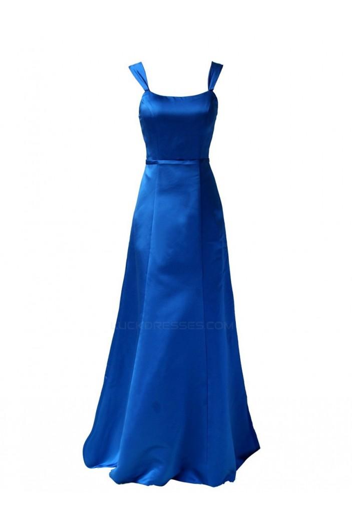 A-Line Straps Sleeveless Royal Blue Long Satin Bridesmaid Dresses/Wedding Party Dresses BD010008