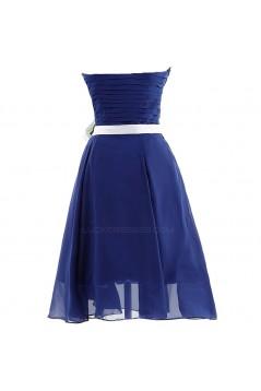 A-Line Strapless Short Chiffon Black Bridesmaid Dresses/Wedding Party Dresses BD010010