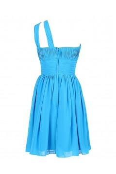 A-Line One-Shoulder Short Blue Chiffon Bridesmaid Dresses/Wedding Party Dresses BD010011