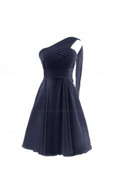 A-Line One-Shoulder Black Short Chiffon Bridesmaid Dresses/Wedding Party Dresses BD010017