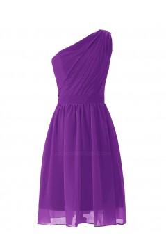 A-Line One-Shoulder Royal Blue Short Chiffon Bridesmaid Dresses/Wedding Party Dresses BD010020