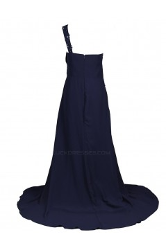 A-Line One-Shoulder Navy Blue Long Chiffon Bridesmaid Dresses/Wedding Party Dresses BD010021