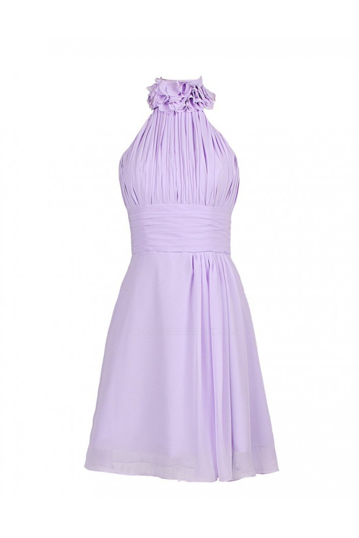 A-Line Halter Short Purple Chiffon Bridesmaid Dresses/Wedding Party Dresses BD010023