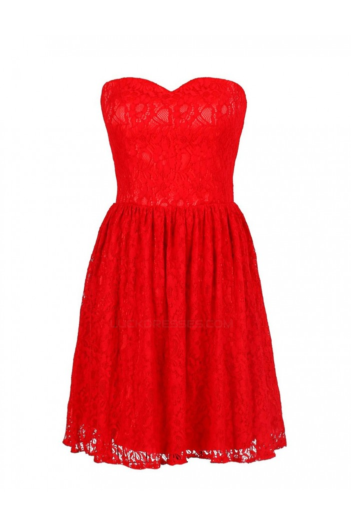 A-Line Sweetheart Short Red Lace Bridesmaid Dresses/Wedding Party Dresses BD010027