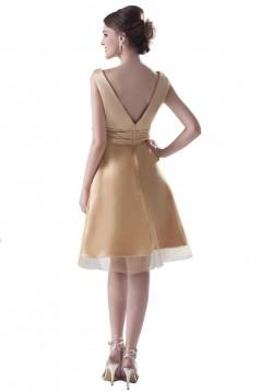 A-Line V-Neck Short Gold Bridesmaid Dresses/Wedding Party Dresses BD010031