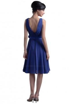 A-Line V-Neck Short Blue Chiffon Bridesmaid Dresses/Wedding Party Dresses BD010036
