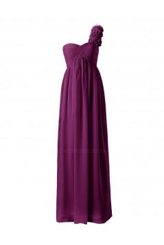 Empire One-Shoulder Long Purple Chiffon Bridesmaid Dresses/Wedding Party Dresses/Maternity Dresses BD010037