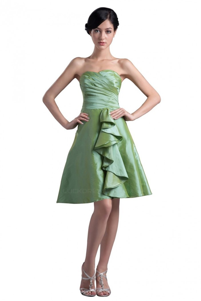 A-Line Strapless Short Taffeta Bridesmaid Dresses/Wedding Party Dresses BD010045