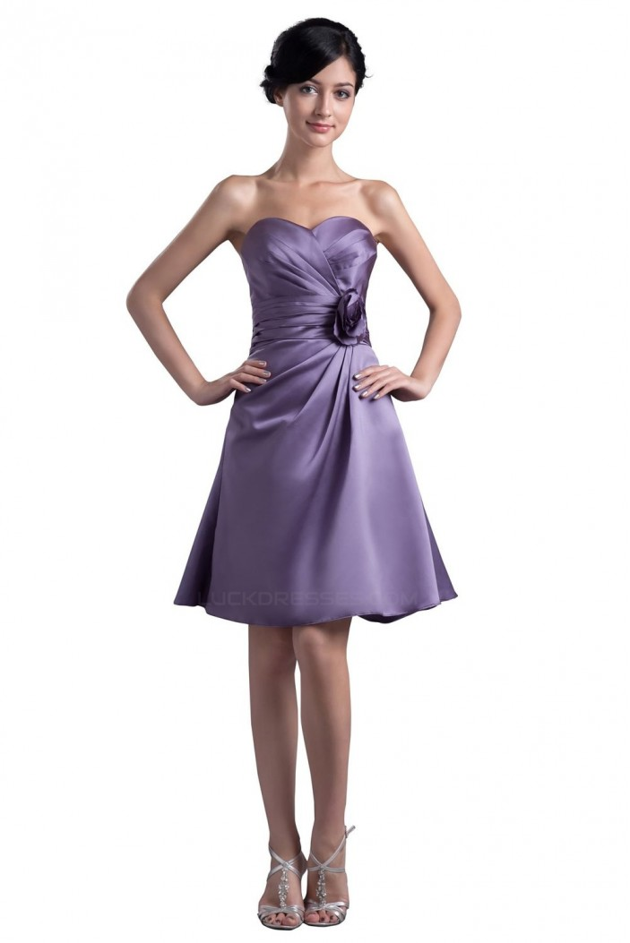 A-Line Sweetheart Short Satin Bridesmaid Dresses/Wedding Party Dresses BD010046